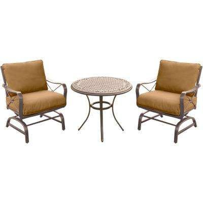 Summer Nights 3-Piece Outdoor Bistro Set with Aluminum Rockers and ...