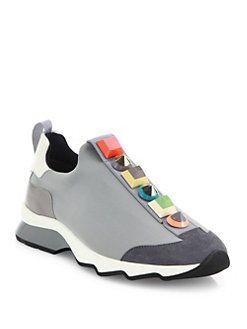Chaussures De Sport En Cuir Imprimé - Blanc Fendi gPvSQ9