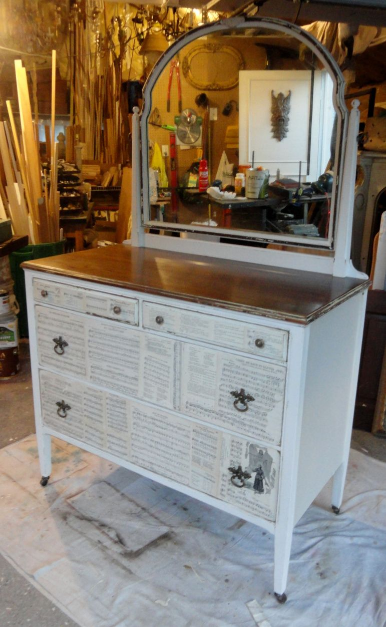 decoupaging and making over the green dresser--