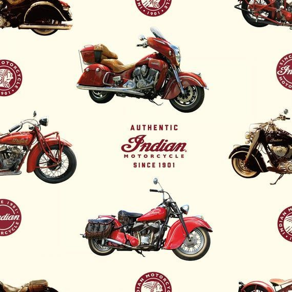 Main Cream Indian Motorcycles Allover Fabric By The Yard From Riley Blake Designs  Main Cream Indian Motorcycles Allover Fabric By The Yard From Riley Blake Designs
