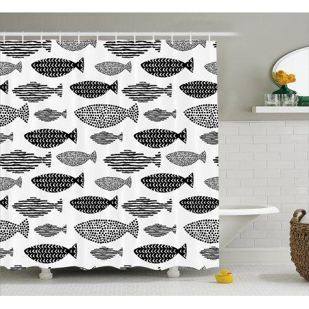 Ocean Animal Decor Shower Curtain, Minimalist Fish with Pared down