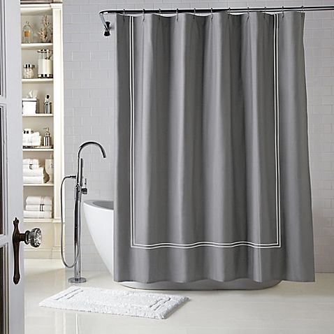 Wamsutta Baratta Stitch Shower Curtain Curtains Fabric Shower Curtains Black White Shower Curtain