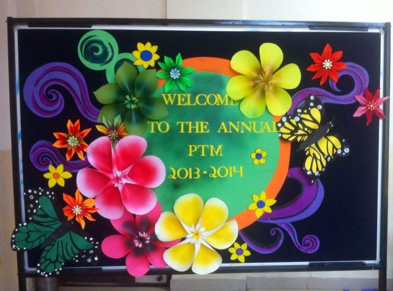 Art bulletin board ideas annual parent teacher meeting for Art and craft for school decoration