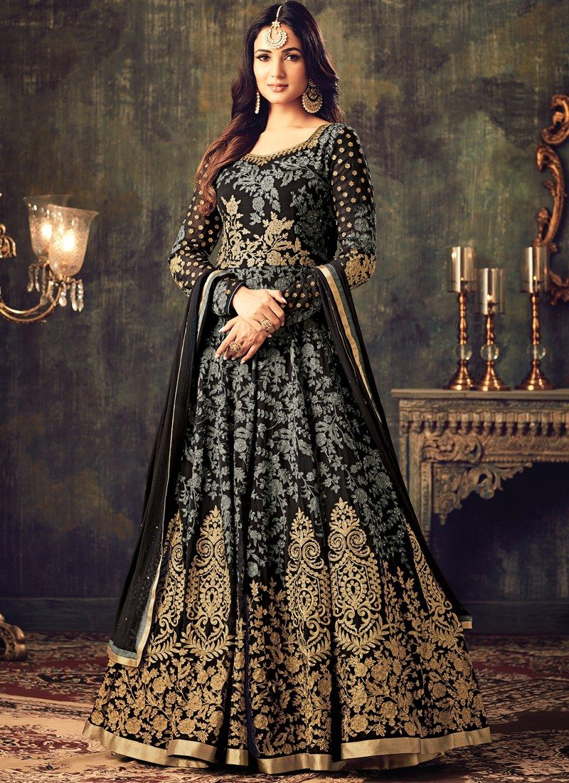 c960995ad1 Buy Craftsvilla Black Color Georgette Embroidered Circular Semi-stitched Anarkali  Suit online. ✯ 100% authentic products, ✯ Hand curated, ...
