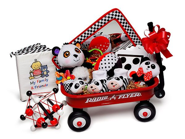 The NEW DELUXE Little Red Wise Wagon Gift Basket is overflowing with infant stimulation toys and tools! $99.95