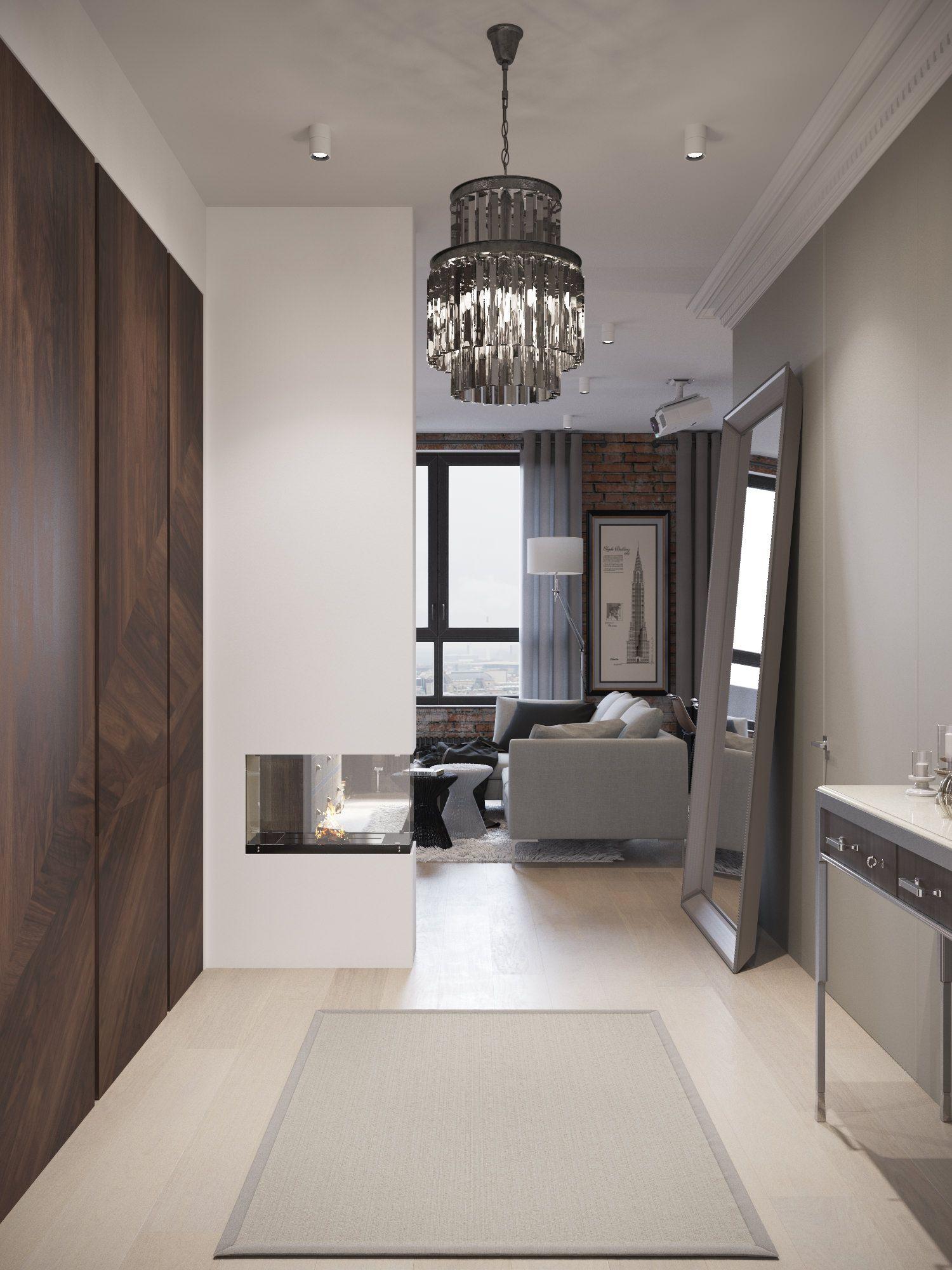 дизайн прихожей совмещенной с гостиной с камином Interior