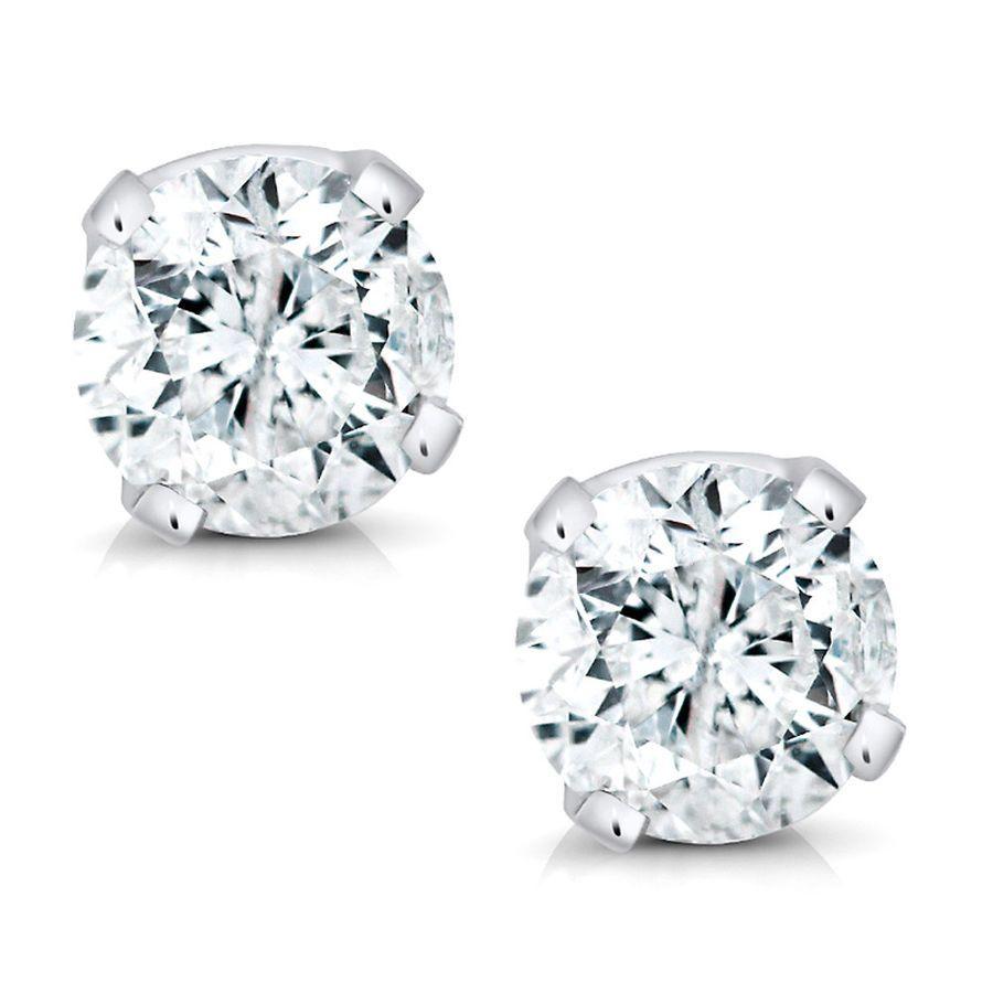 1d9ff122e6574 14K White Gold Round Diamond Stud Earrings (1/5cttw)#Gold#White ...