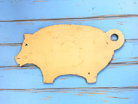 Farmhouse Pig Wall Hanging Primitive Rustic Vintage Handmade Folk ...