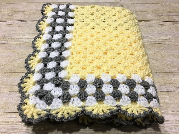 Yellow Grey Baby Blanket Yellow Baby Blanket Crochet Baby #babyblanket