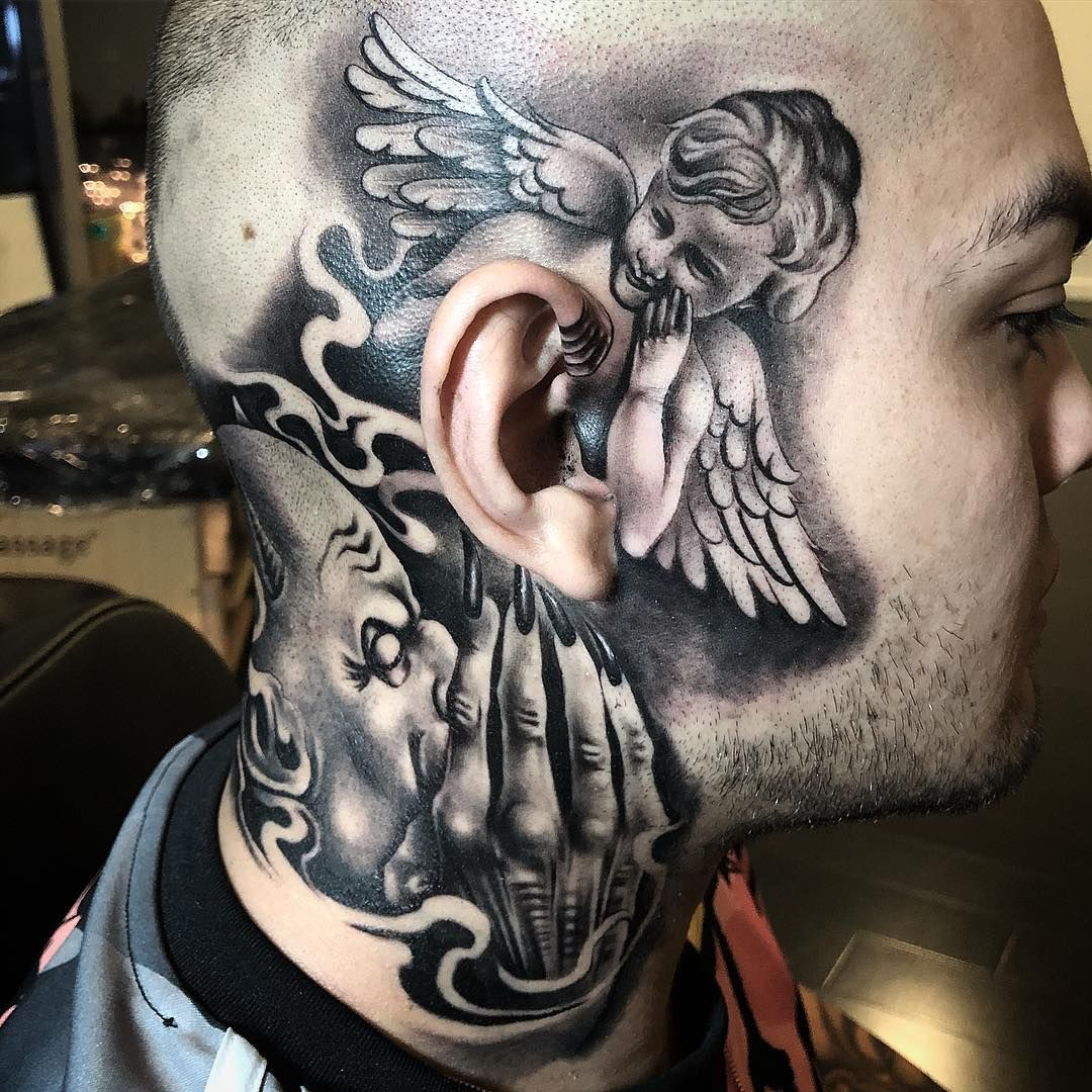 Tattoo Devil Ear Man Whispering
