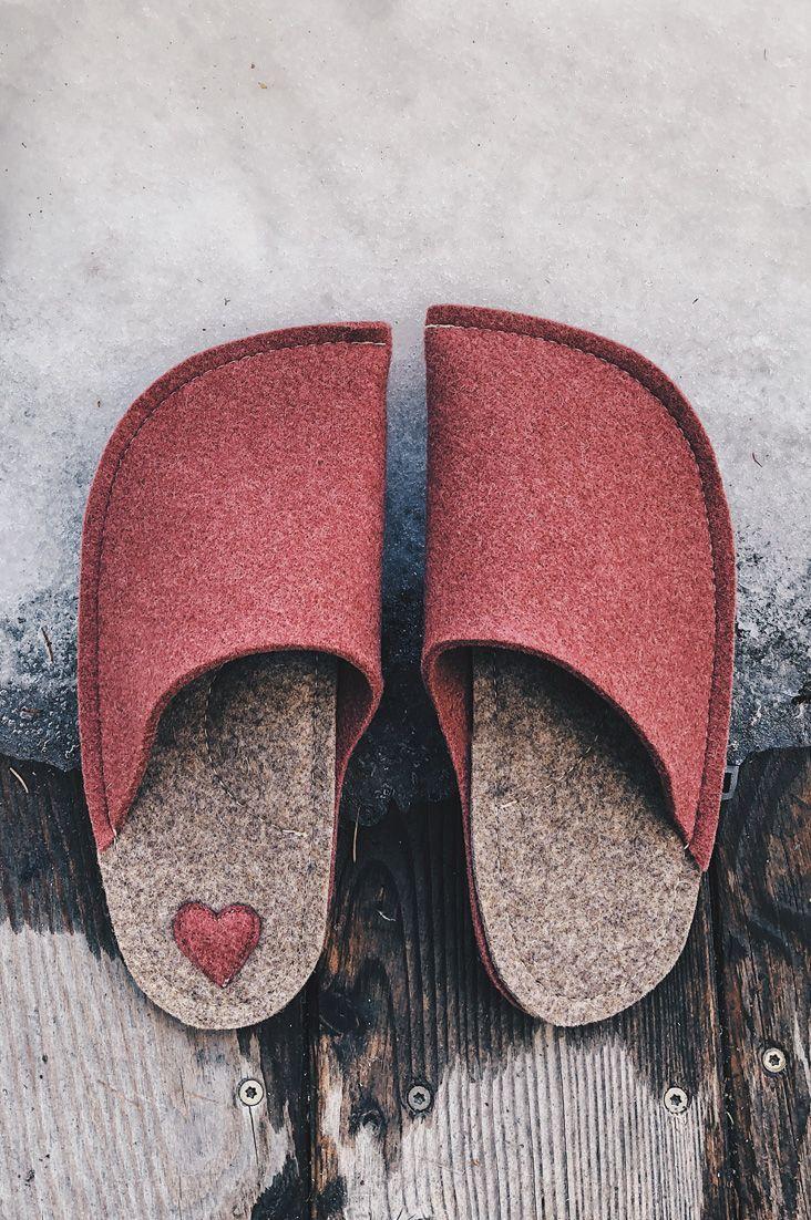 4acd457fbf Handmade light burgundy wool felt slippers.  slippers  woolfelt  feltcrafts   feltslippers