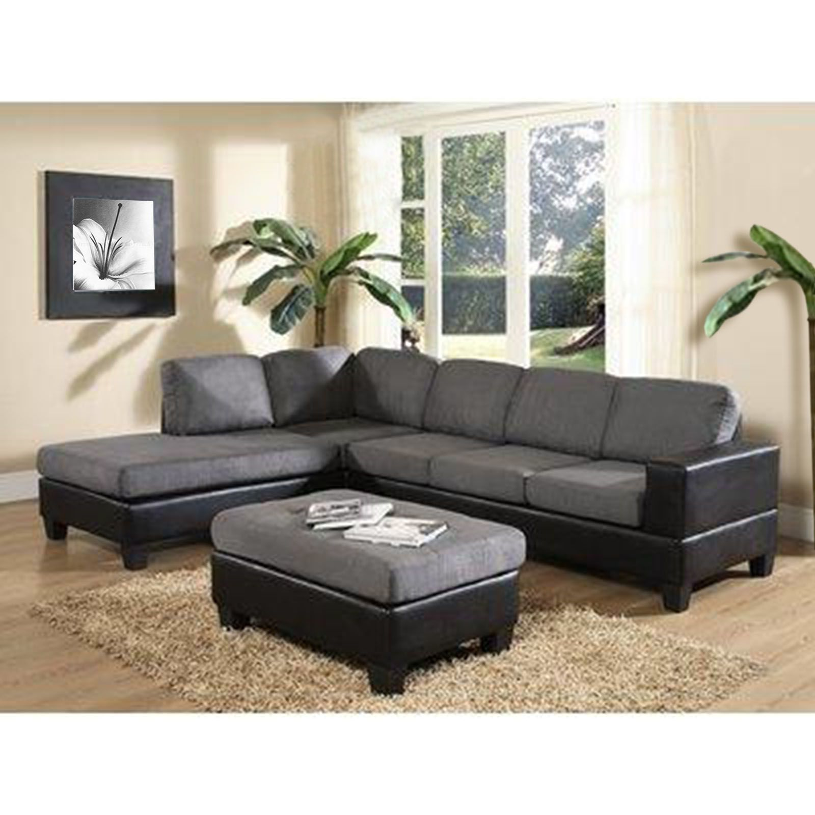 Venetian Worldwide Dallin Sectional Sofa Grey Ottoman $469 79