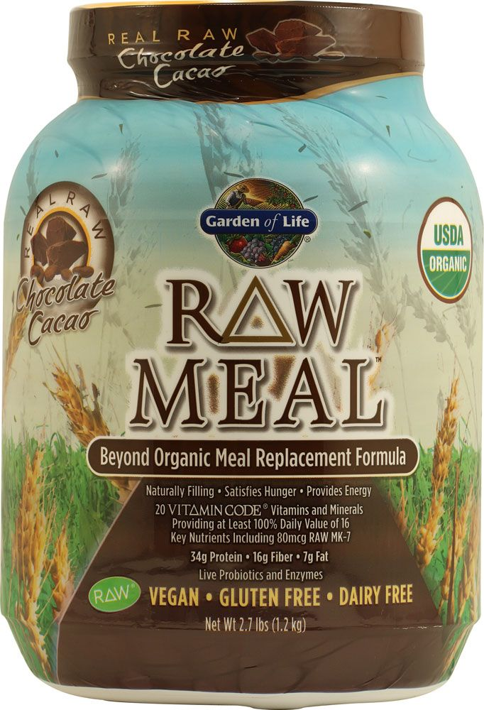 Garden Of Life Organic Raw Meal Chocolate Cacao Great Breakfast Shake With Almond Milk Or