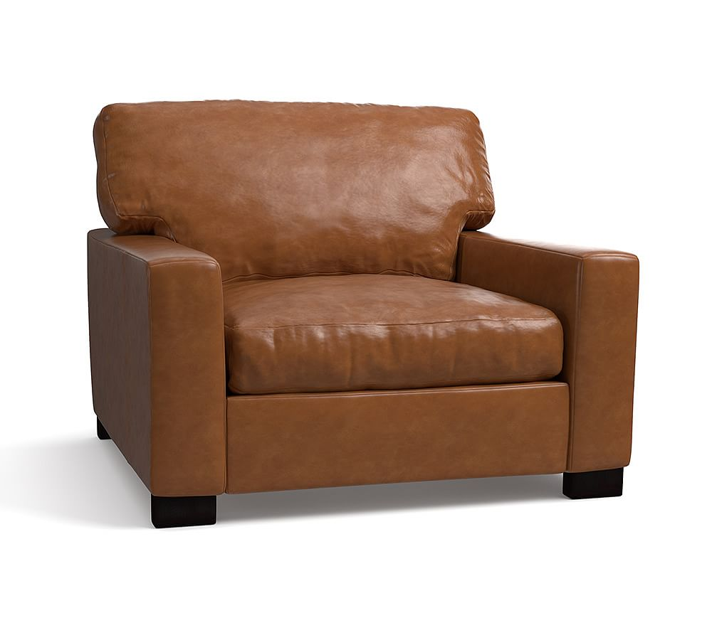 """Turner Square Arm Leather Small Armchair 37"""", Down Blend"""
