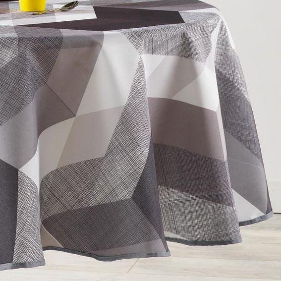 nappe ronde d180 cm ultragraphic noir et blanc acheter. Black Bedroom Furniture Sets. Home Design Ideas
