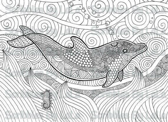 Printable Adult Coloring Page - Dolphin - High Quality - PDF Instant ...