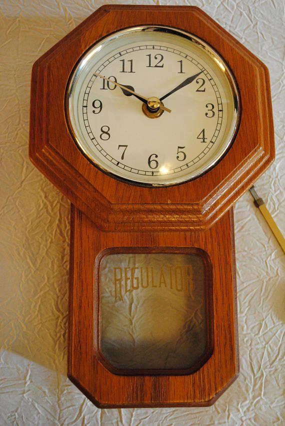 Small Battery Operated Regulator Wall Clock With Pendulum
