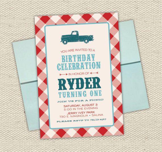 vintage truck boys birthday invitation picnic checker