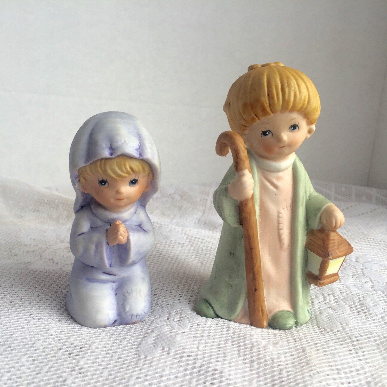 Home interior jesus figurines ceramic figurines mary and joseph vintage homco  christmas nativity