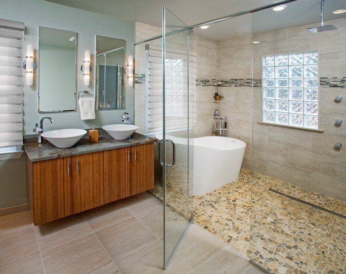 Le carrelage galet, pratique revêtement pour la salle de bain! - photo faience salle de bain