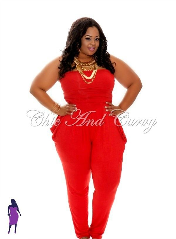 New Plus Size Strapless Jumpsuit in Red Model: Janna Plus Model ...