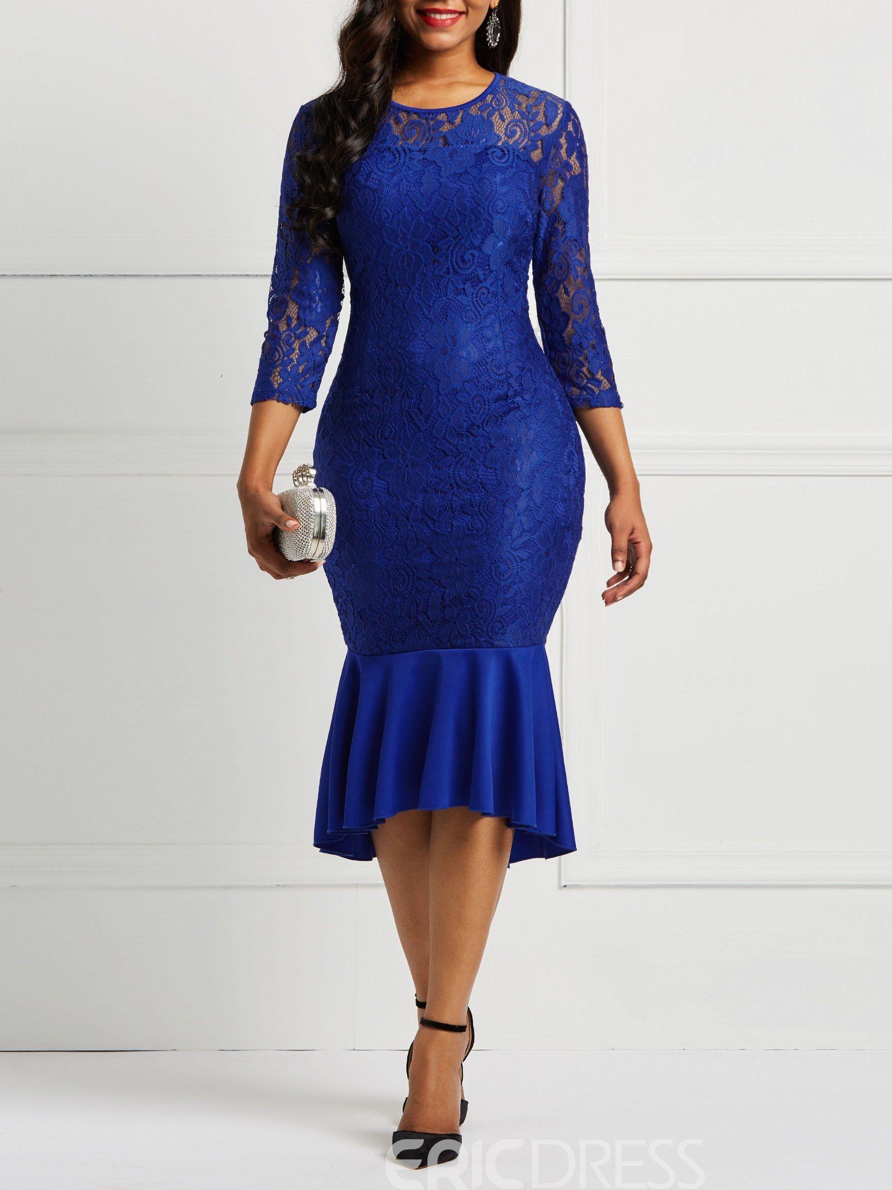 8b756166b ericdress sirena manga larga encaje vestido de mujer | ROPA Y ...