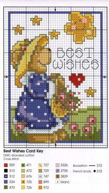 Cross-stitch Bear best wishes card pattern...   Gallery.ru / Фото #47 - Cross Stitch Teddies - KIM-2