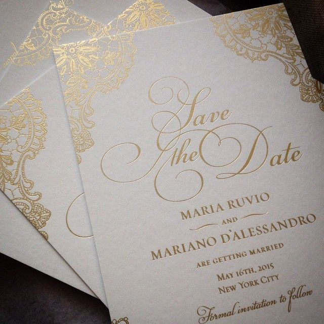 Monarc Laser Cut Wedding Invitation Gold lace Gold and Collection