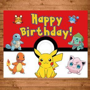 Cartel de cumpleaños de Pokemon rojo blanco por NineLivesNotEnough