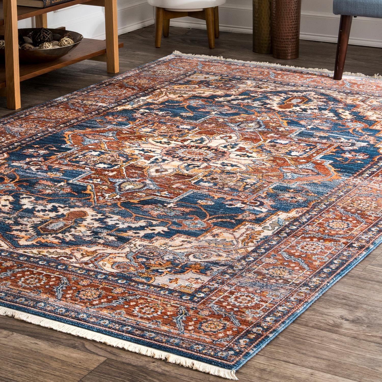 Nuloom Vintage Floral Jullian Fringe Area Rug In 2020 Rugs In Living Room Blue Area Rugs Area Rugs
