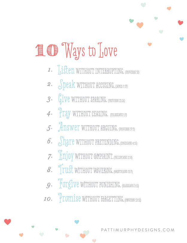 Day 59 // FREE PRINTABLE -10 ways to love #project365things