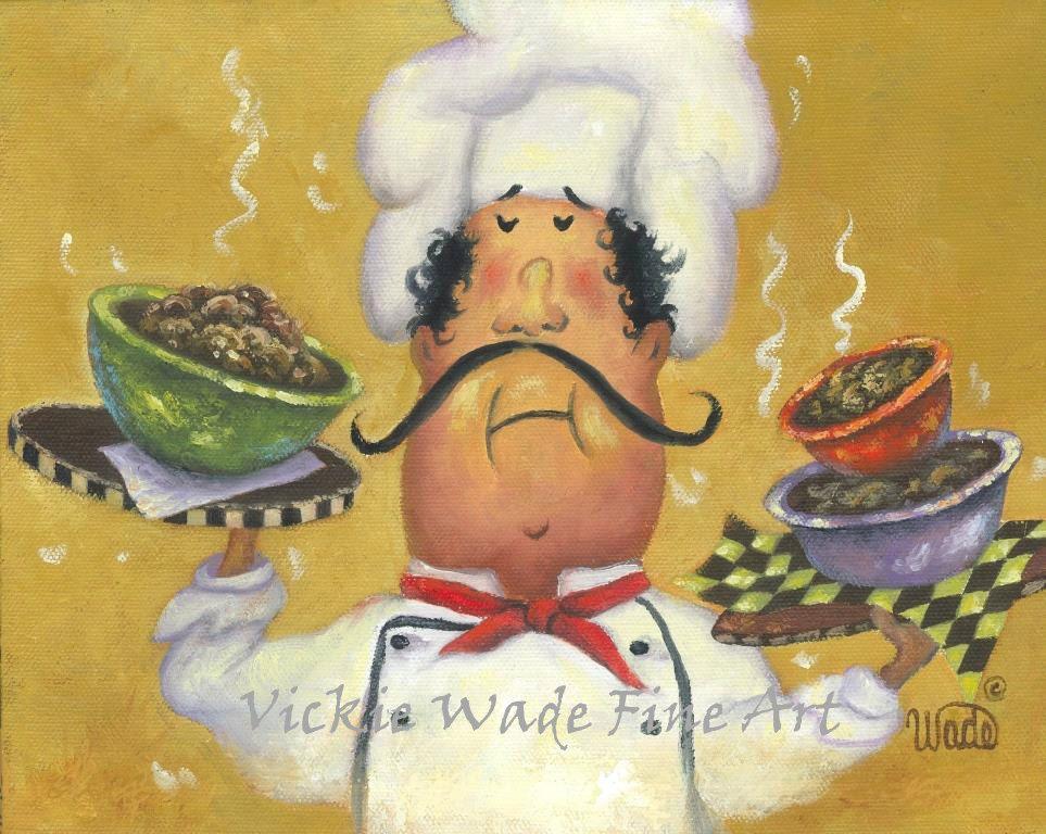 Fat Chefs Art Print, chef wall art funny three bowl chef art kitchen ...
