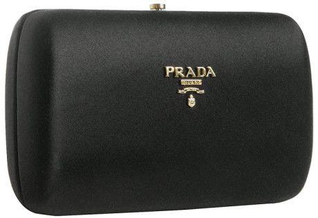 Prada Black Satin Box Clutch in Black  ab45f7cef85e7