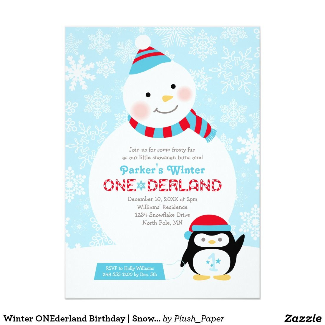 Winter ONEderland Birthday | Snowman and Penguin 5x7 Paper ...