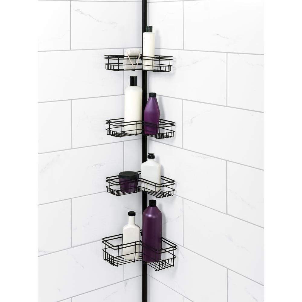 Glacier Bay L Style Tension Pole Shower Caddy In Bronze With 4