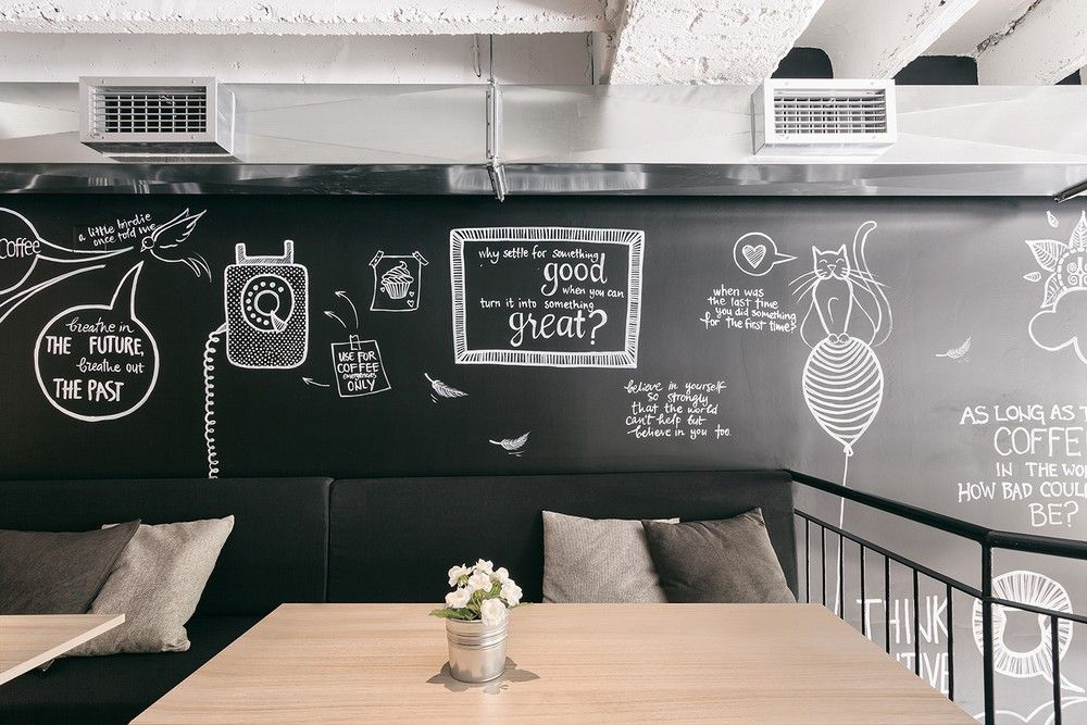 La pintura de pizarra y magnética están de moda en las cafeterías y restaurantes importantes. Esta cafetería es un ejemplo. http://freshome.com/2014/06/24/done-coffee-shop-design/