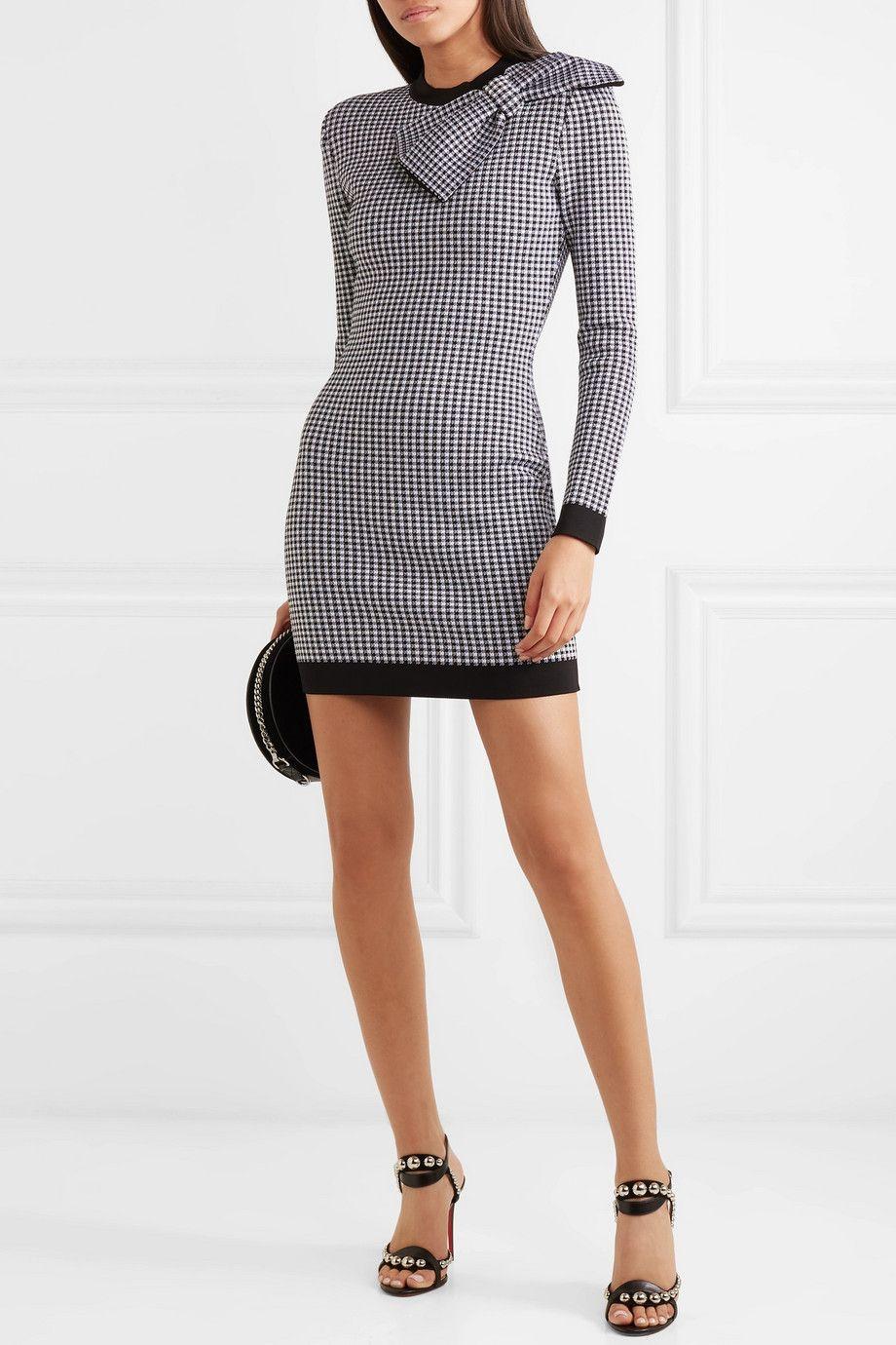 92246144 Balmain   Bow-embellished gingham stretch-knit mini dress   Fashion ...