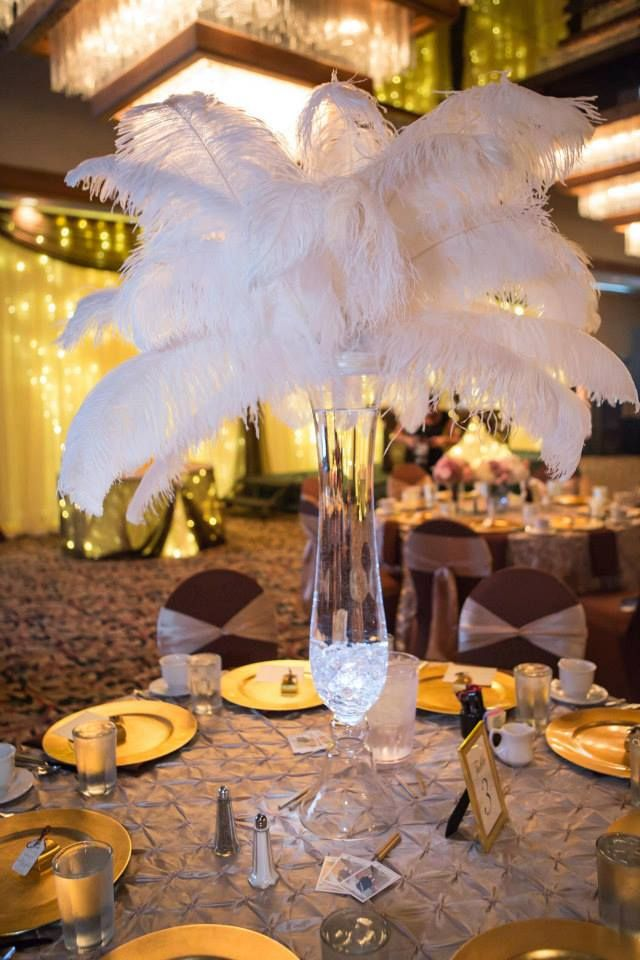 Wedding Decor Feather Centerpiece