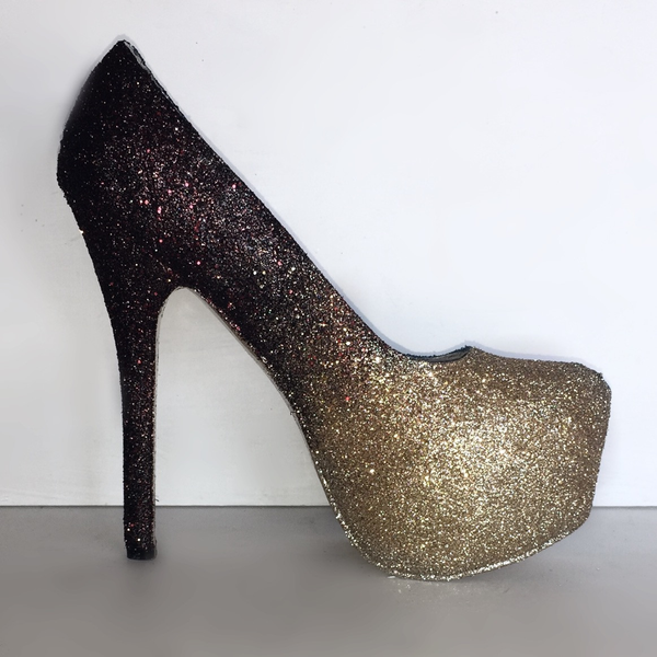 bd19fa5d09 Women's Black Gold ombre Glitter Heels wedding bride Prom shoes ...
