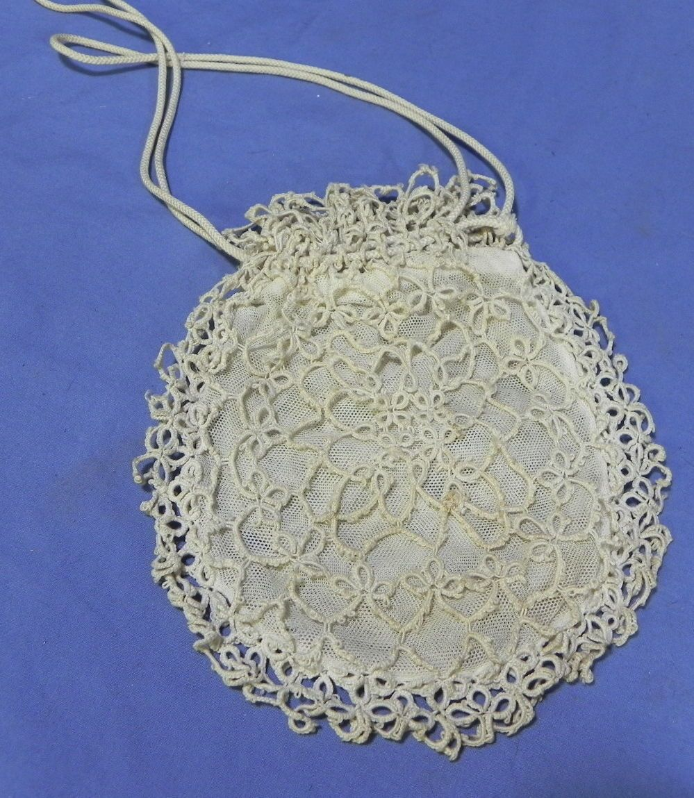 ebay SV-antique vintage Edwardian Victorian tatting tatted lace drawstring purse bag