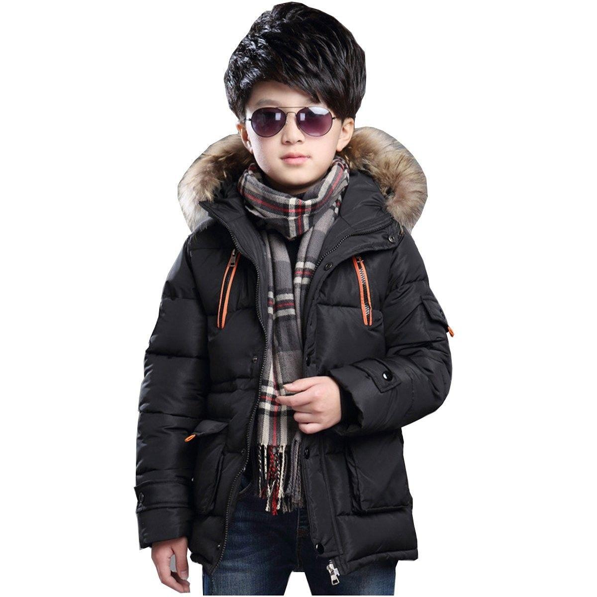 Boy S Winter Hooded Cotton Coat Jacket Parka Outwear With Faux Fur Trim Black Cj18896x4n8 Hooded Cotton Coat Cotton Coat Boys Puffer Jacket [ 1200 x 1200 Pixel ]