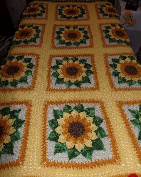 Hermoso cubierto de ganchillo. En Sunflower. Patrón fácil paso a ...