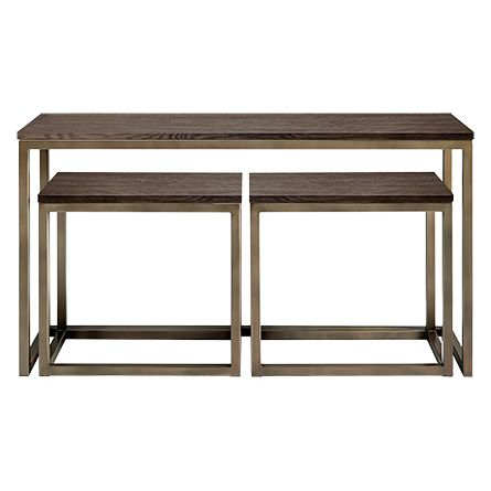 Palmer Nesting Console Table Set In Bronzed Oak