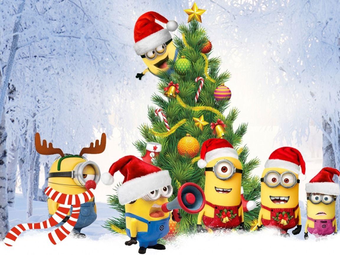 Minions Christmas Tree Desktop Nexus Wallpapers Oboi S Minonami Minony Oboi