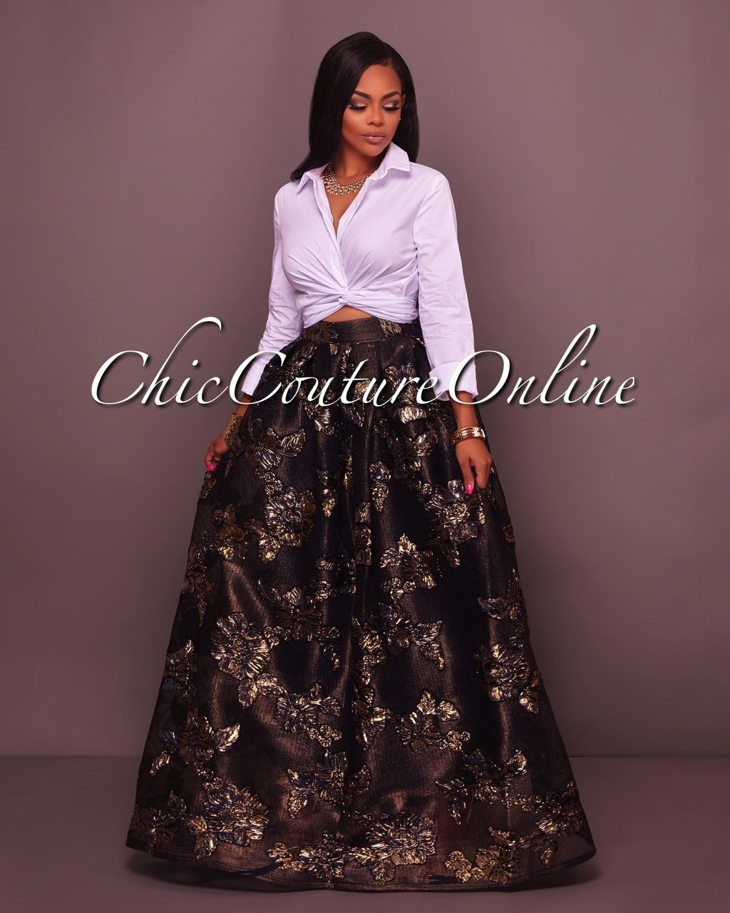 0033a8b3716 Dallas Navy-Blue Gold Floral Textured Luxe Maxi Skirt in 2019 ...