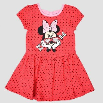 25125f2d9d Toddler Girls  2pk Disney Mickey Mouse   Friends Minnie Mouse Short Sleeve  Skater Dress - Red Pink 12M