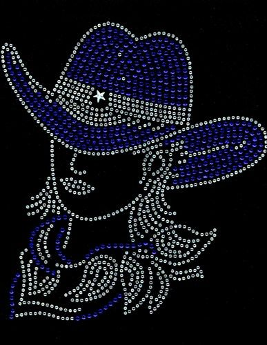 Cowgirl With Hat Cobalt Rhinestone Transfer Iron On