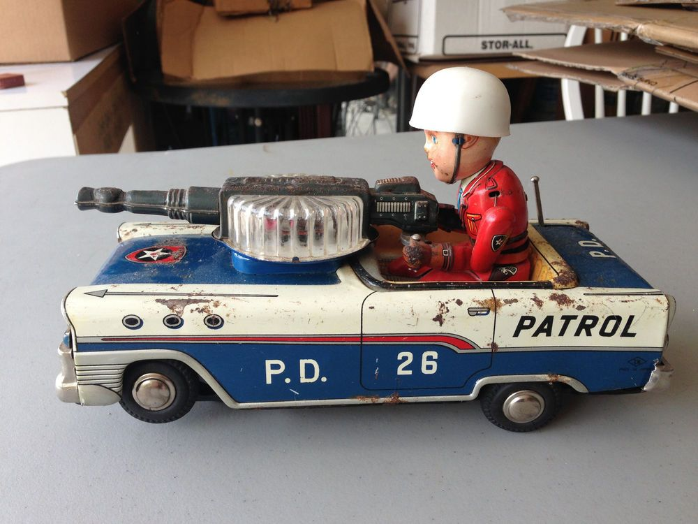 Vintage Mystery Op Car Details Action Tin Battery About Police derBoCxW