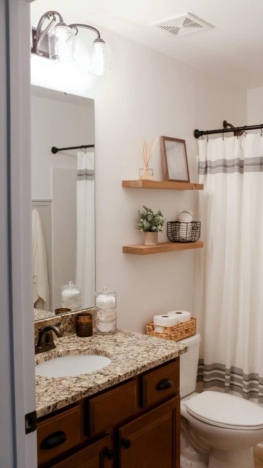 Budget Guest Bathroom Makeover   Bathroom Home Decor   Bathroom Floating Shelves, Board & Batten