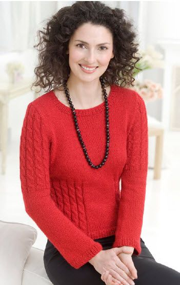Red Heart Shimmer Cable Sweater Free Pattern Knitting